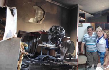Sala del apartamento donde ocurrió el incendio en el que murió Rosaura González Pérez.