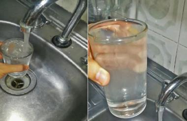 """El agua que sale del grifo luce de color """"blancuzco""""."""