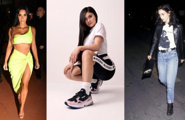 Kim Kardashian luce la moda neón,  Kylie Jenner porta un pantalón bicicletero con tenis de estilo noventero y winona ryder usa un atuendo al estilo rockero.
