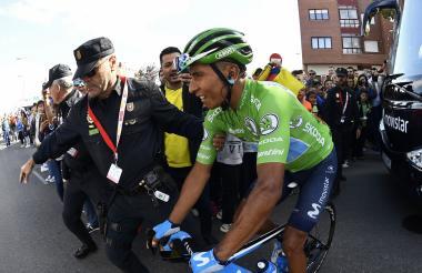 Nairo Quintana al finalizar la etapa 17 de la Vuelta a España que se disputó este miércoles.