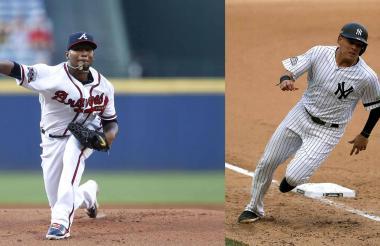 El brazo derecho de los Bravos de Atlanta Julio Teherán y el tercera base de los Yanquis, Gio Urshela.