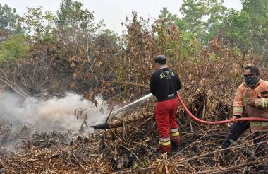 Los bomberos indonesios rocían agua para ayudar a extinguir un incendio en Kampar, provincia de Riau.