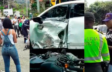 Así quedó el vehículo del jugador luego del accidente.