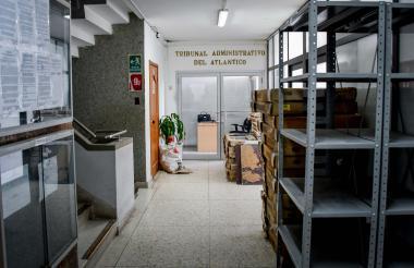 Vista de la entrada del Tribunal que funciona en el piso 9 de la Gobernación del Atlántico.