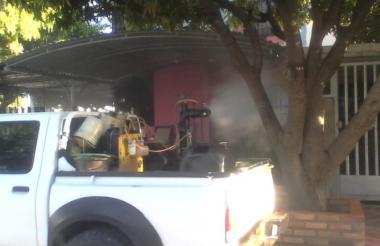 Fumigación contra dengue en Valledupar.