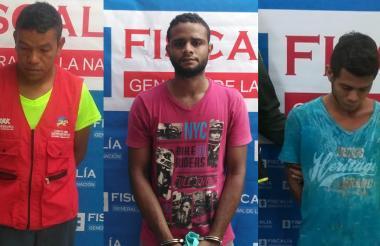 Tres de los 11 capturados por la Fiscalía.