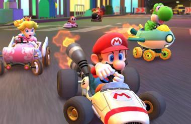 Mario, Peach y Yoshi en una de las imágenes del videojuego para celulares.