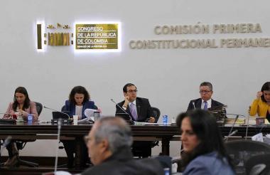 Aspecto de la Comisión Primera del Senado.