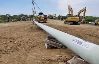 Aspecto de las obras de construcción del gasoducto de Promigas en Bolívar.