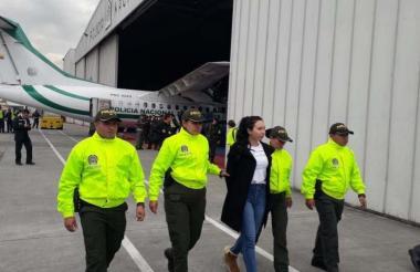 Aida Manzaneda Merlano en momentos en que llegaba a Bogotá.