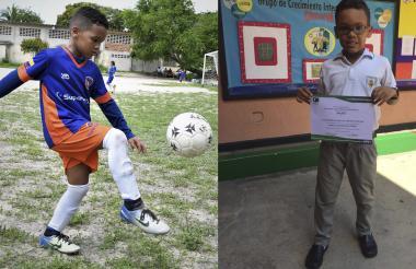 El pequeño Alejandro Chaves dominando el balón y con su diploma de matemáticas.