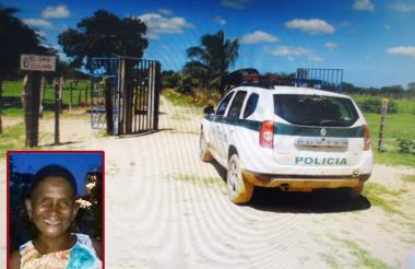 Entrada de la finca 'El Esfuerzo', zona rural de Riohacha, en donde se cometió el triple homicidio. En el recuadro Juana Serpa, una de las víctimas.