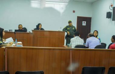 Aspecto de la audiencia de imputación de cargos.