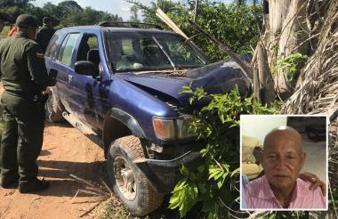 Estado en que quedó el vehículo de Víctor Moisés Vega (en el recuadro), ganadero asesinado en Rincón Hondo.