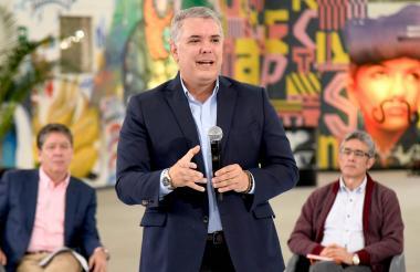 Iván Duque, presidente de la República, durante el 'Taller de Emprendimiento', que se desarrolla en Medellín.