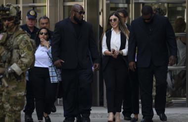 Emma Coronell a la salida del juicio del 'Chapo'.