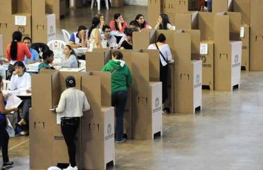 Vista de una jornada electoral en una institución educativa en Barranquilla.