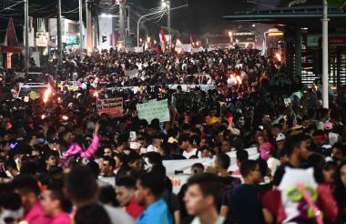 El punto de partida de la marcha de los estudiantes en Barranquilla fue en la carrera 8 con Murillo.