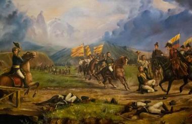 Pintura del Museo Nacional que ilustra la Batalla de Boyacá, que tuvo lugar el 7 de agosto de 1819.