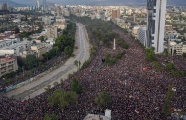 Una de las protestas más grandes realizadas en Chile en las últimas semanas.