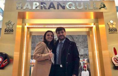 Karen Abudinen y Jaime Pumarejo tras la reunión en el BID.