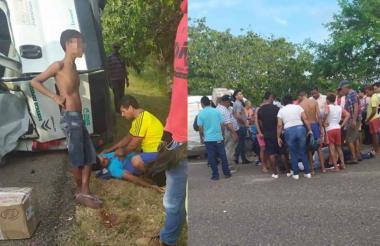 Los heridos son auxiliados por varias personas que están en el sector.