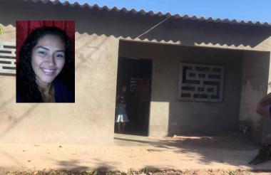 Fachada de la casa en donde fue asesinada  Marelis Yudith Bueno Castro (recuadro).