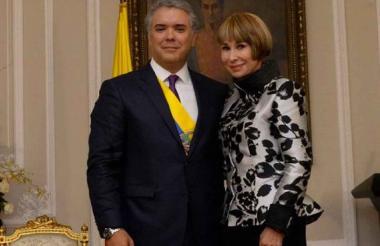 Iván Duque, presidente de Colombia, y Alicia Arango, ministra del Trabajo.