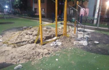 Las obras realizadas en el parque son por una fuga.