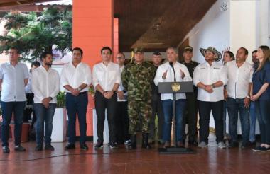 El presidente Duque habla al término del consejo de seguridad en Montelíbano.