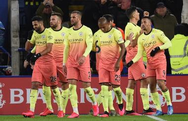 Así fue el festejo del gol del Manchester City.