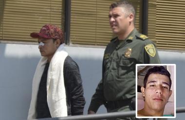 Rafael Romero rumbo a la audiencia. En el recuadro Daniel Pérez, el asesinado.