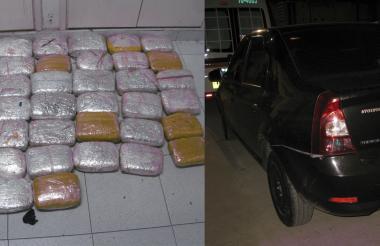 la droga incautad y el vehículo en el que era transportada.
