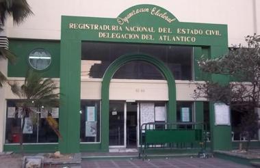 Fachada de una de las sedes de la Registraduría Nacional en el Atlántico.