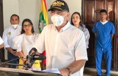 William Dau, alcalde de Cartagena, en rueda de prensa de este lunes.