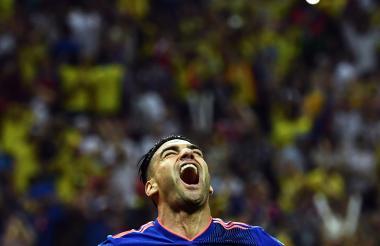 Falcao García grita su primer gol en una Copa del Mundo.