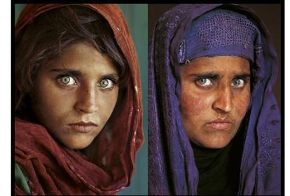 Sharbat Gula, la niña afgana que se hizo famosa por sus ojos verdes en una portada del National Geographic en 1985.