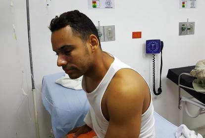 Cristian Bradford fue atendido por urgencias.