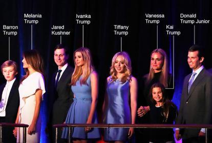 El nuevo presidente y su familia cercana. Su esposa Melania y su hijo Barron serán los únicos que vivirán con él en la Casa Blanca.