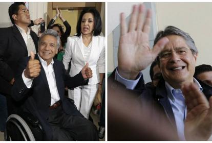 Los dos candidatos, Lenin Moreno y Guillermo Lasso, en una publicación del periódico El Universo de Ecuador.