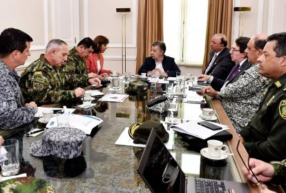 El presidente Santos presidió la reunión con las autoridades en la Casa de Nariño.