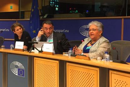 Imelda Daza durante su participación en el Parlamento Europeo.
