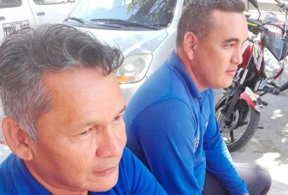 Los paramédicos Ever Gutiérrez y Danilo Coronado.