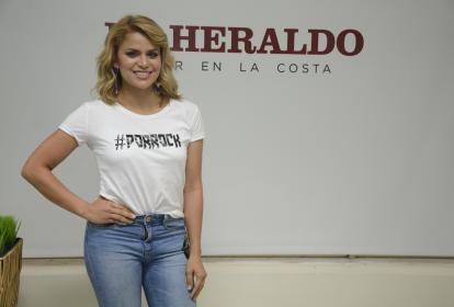 La cantante Adriana Lucía, durante la visita.