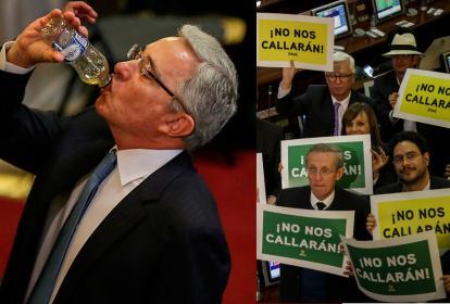 Álvaro Uribe Vélez y miembros de la izquierda.