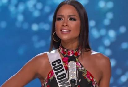 La ex reina en su partición en Miss Universo 2017.