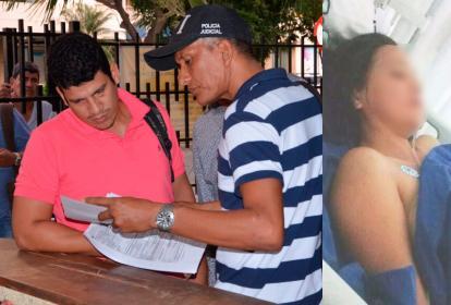 Un miembro de CTI de la Fiscalía le leyó los derechos del capturado a Cristián Omar Mercado Martínez, por herir a Esperanza Hincapié García, la mujer herida de una puñalada en una pelea con su pareja (a la derecha).