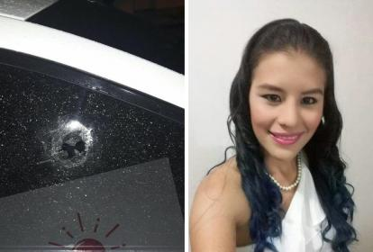 Yisney Flores Pedraza, periodista que fue asesinada y un registro de cómo quedó la ventana del vehículo en el que se movilizaba.