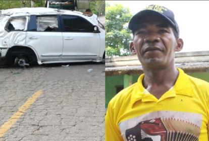 Lugar del accidente y Rodrigo Contreras, el testigo.