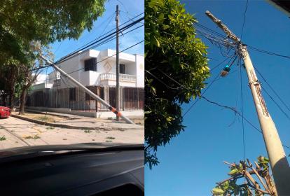 Poste de energía ubicado en el barrio El Silencio y poste de telefonía que cayó en el barrio Modelo.